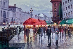 Flower Seller Venice by Henderson Cisz -  sized 30x20 inches. Available from Whitewall Galleries